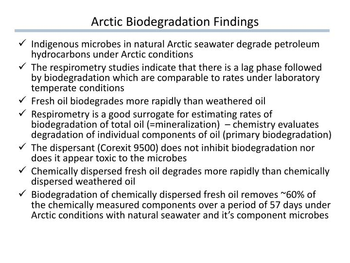 Arctic Biodegradation Findings