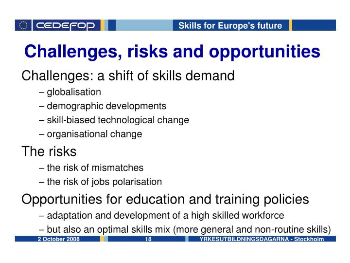 Challenges, risks and opportunities