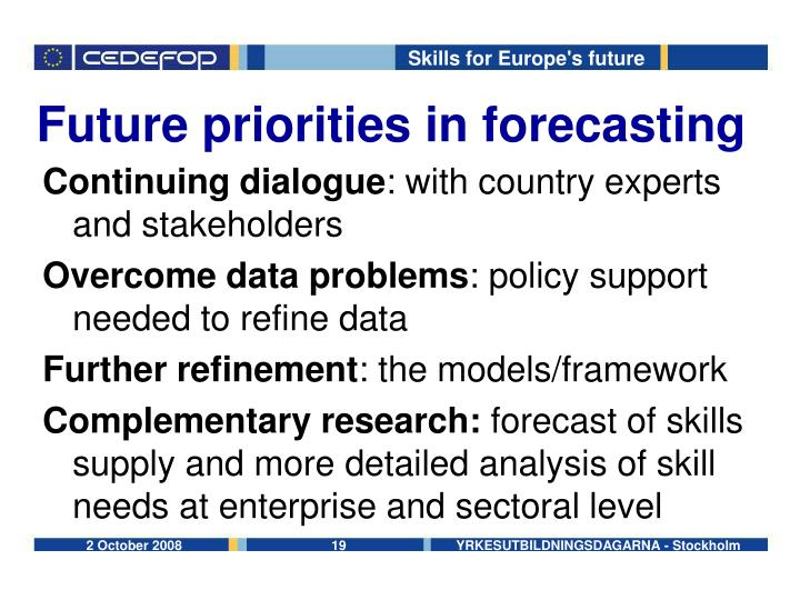 Future priorities in forecasting
