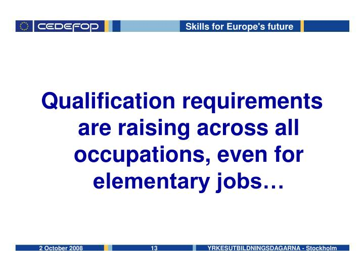 Qualification requirements are raising across all occupations, even for elementary jobs…