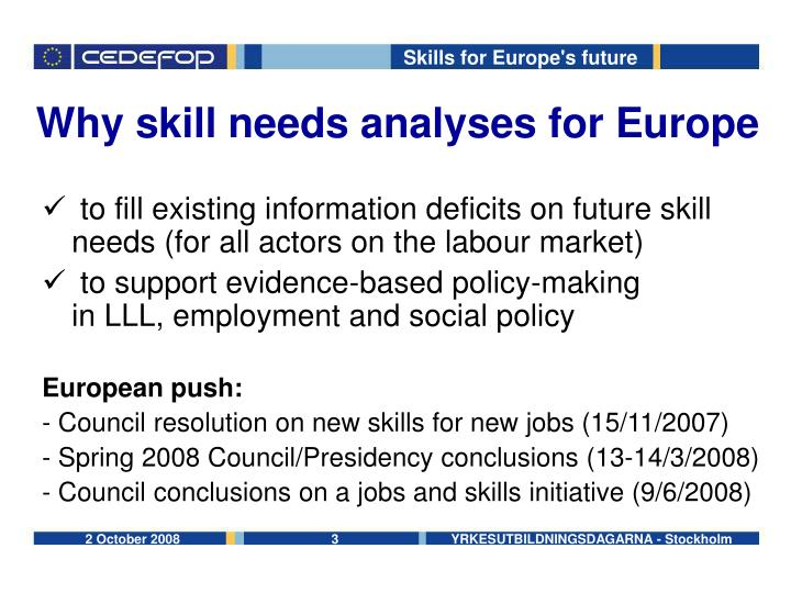 Why skill needs analyses for Europe