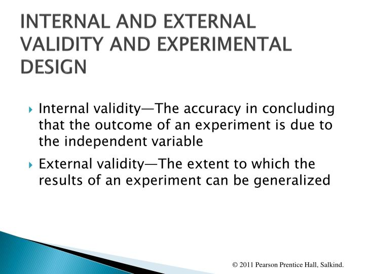 INTERNAL AND EXTERNAL VALIDITY AND EXPERIMENTAL DESIGN