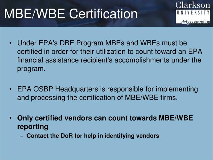 MBE/WBE Certification