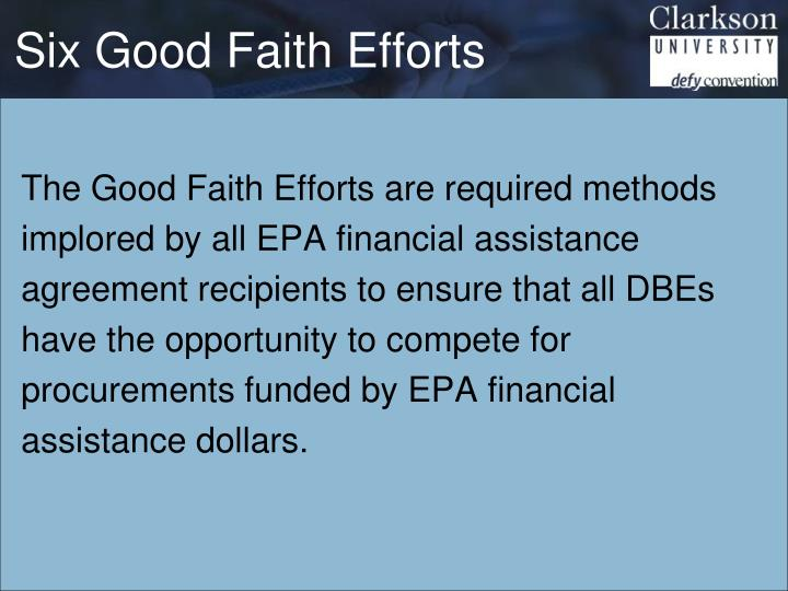 Six Good Faith Efforts