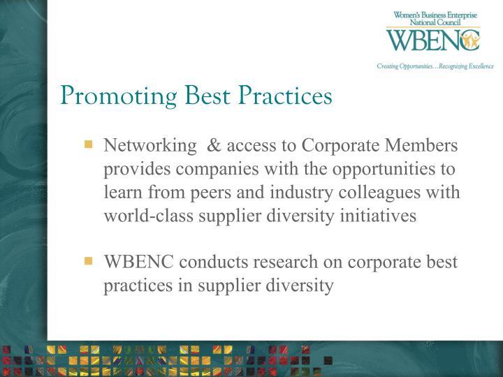 Promoting Best Practices