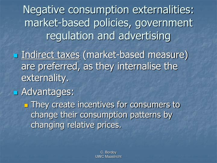 Negative consumption externalities: market-based policies, government regulation and advertising