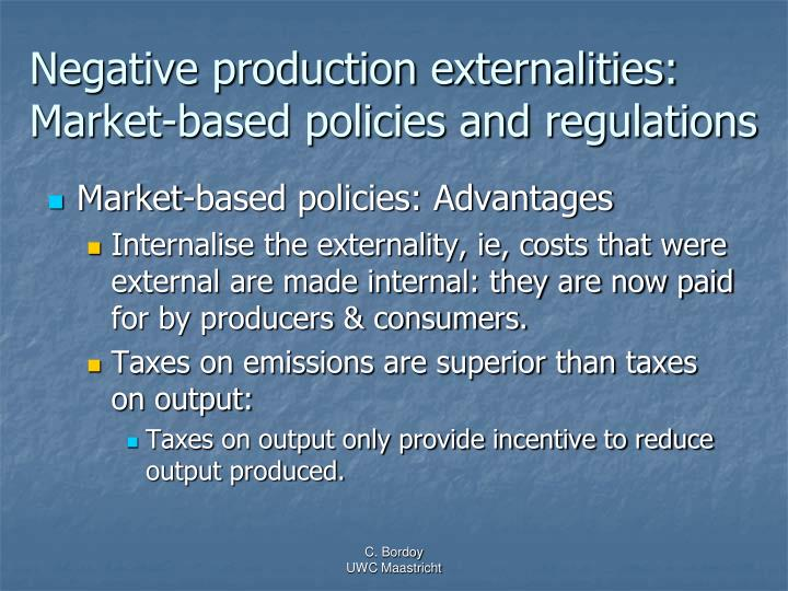 Negative production externalities: Market-based policies and regulations