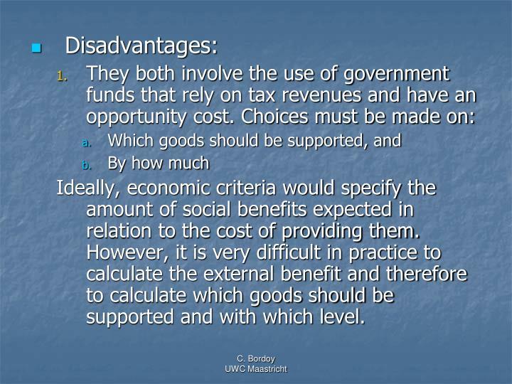 Disadvantages:
