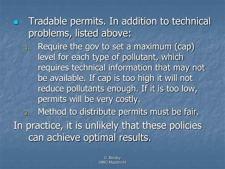 Tradable permits. In addition to technical problems, listed above: