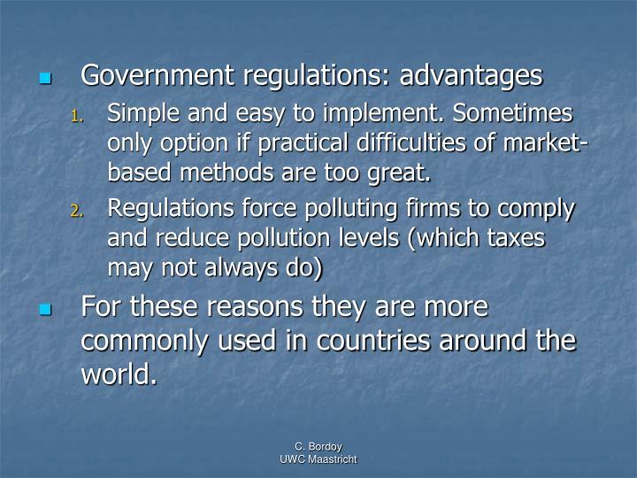 Government regulations: advantages