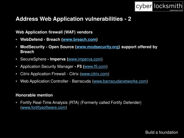 Address Web Application vulnerabilities - 2