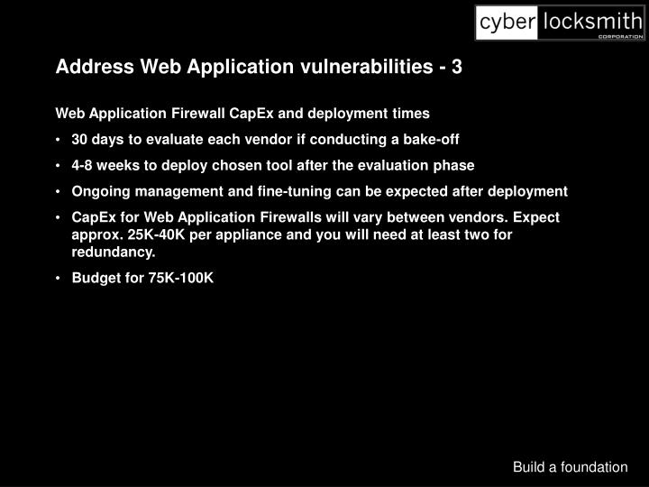 Address Web Application vulnerabilities - 3