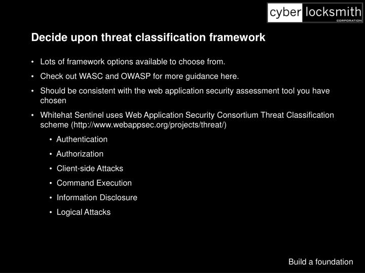 Decide upon threat classification framework