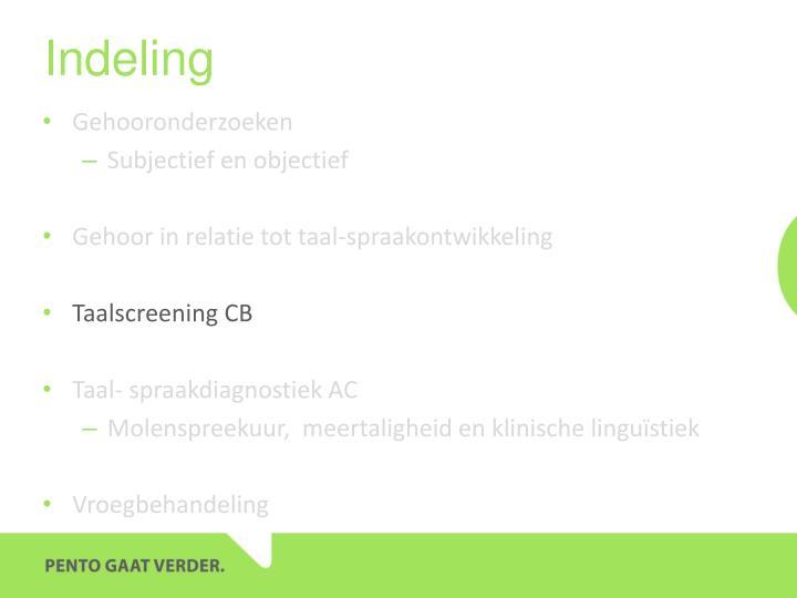Indeling
