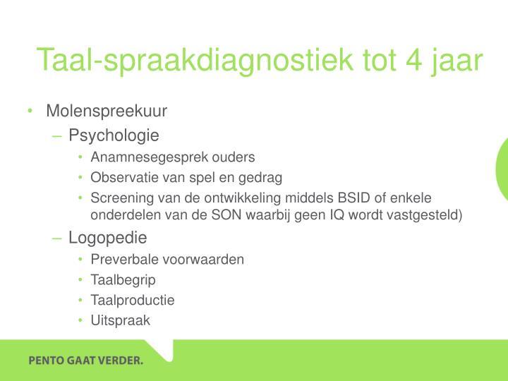 Taal-spraakdiagnostiek tot 4 jaar