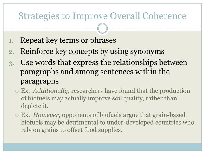 Strategies to Improve Overall Coherence