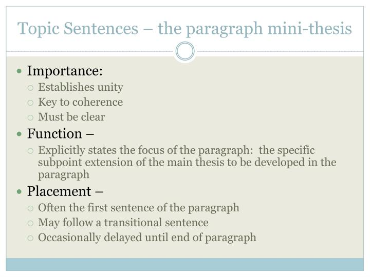 Topic Sentences – the paragraph mini-thesis