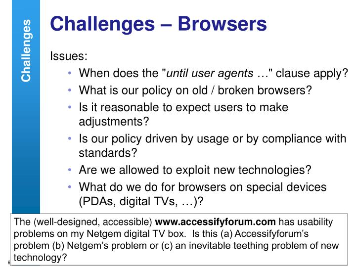 Challenges – Browsers