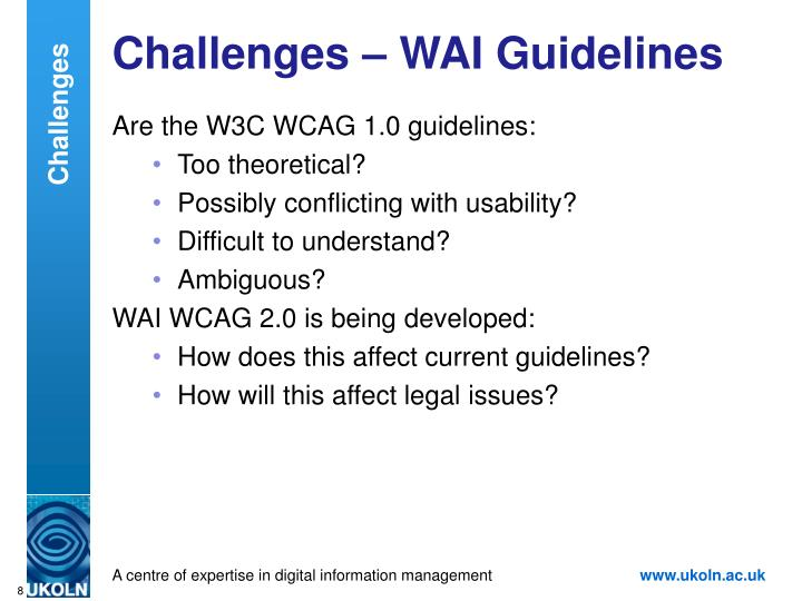Challenges – WAI Guidelines