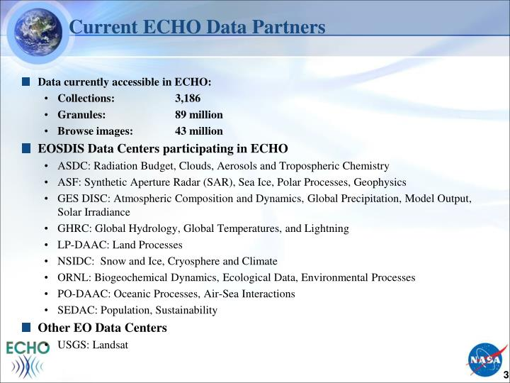 Current echo data partners