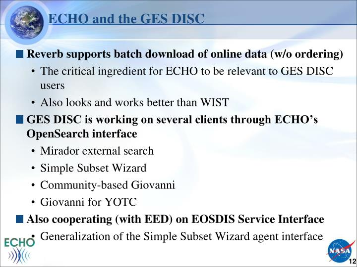 ECHO and the GES DISC