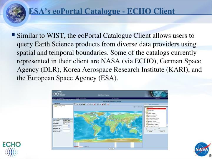 ESA's eoPortal Catalogue - ECHO Client