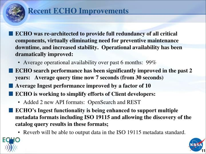 Recent ECHO Improvements
