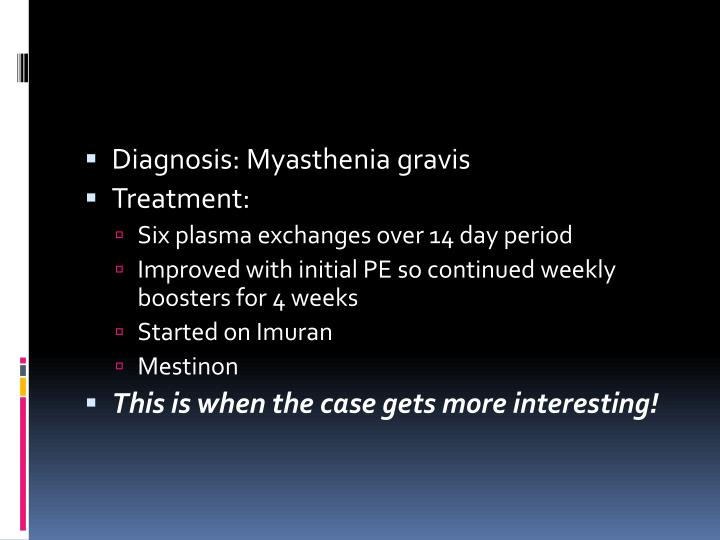 Diagnosis: Myasthenia gravis