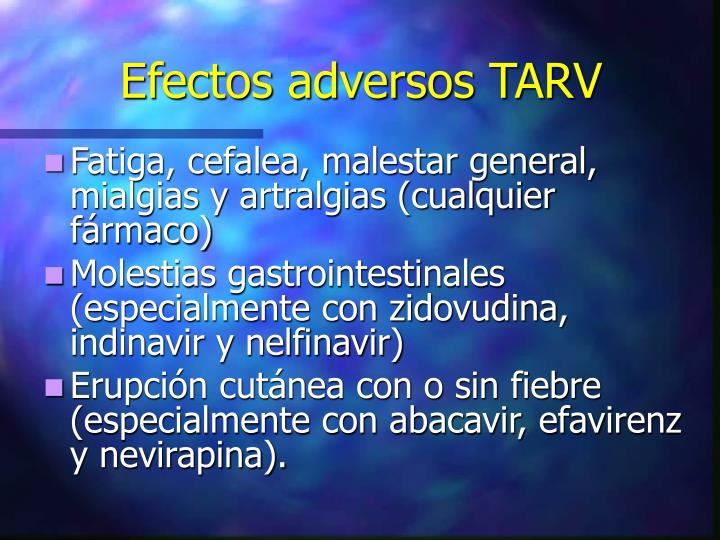 Efectos adversos TARV