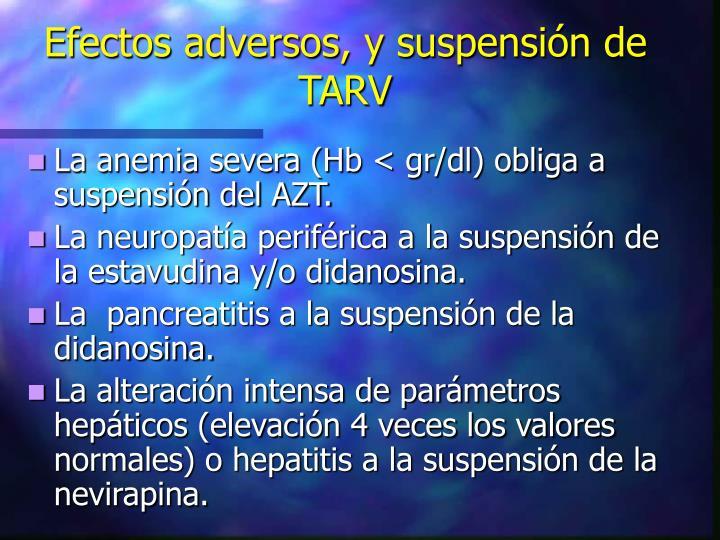 Efectos adversos, y suspensión de TARV