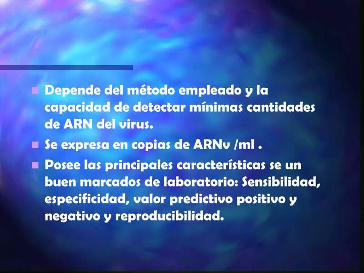 Depende del método empleado y la capacidad de detectar mínimas cantidades de ARN del virus.