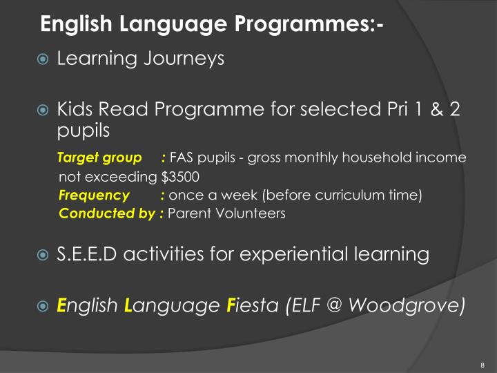 English Language Programmes:-