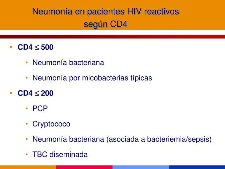 Neumonía en pacientes HIV reactivos