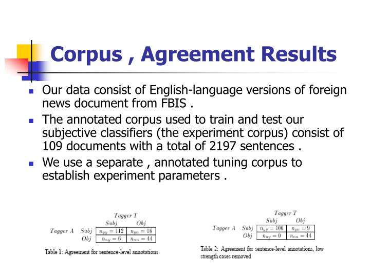 Corpus , Agreement Results