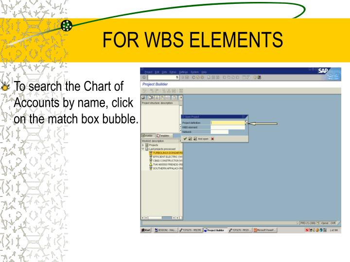 FOR WBS ELEMENTS