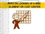 tips on looking up a wbs element or cost center