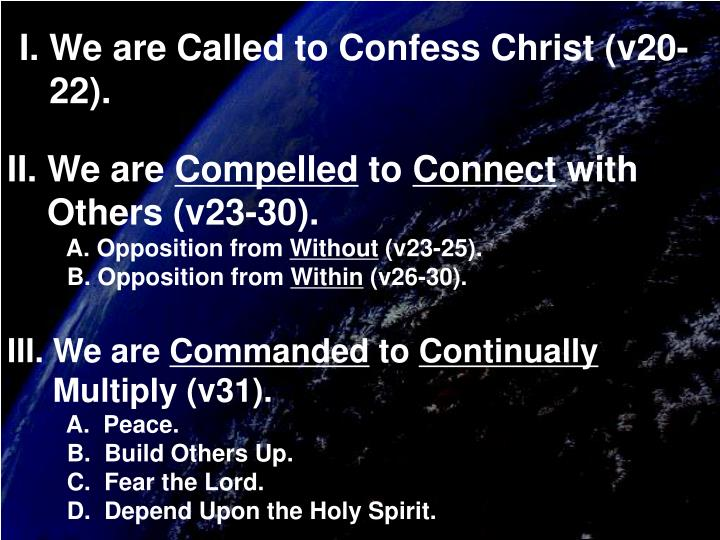 I. We are Called to Confess Christ (v20-