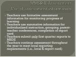 mmsr k assessment use of assessment information