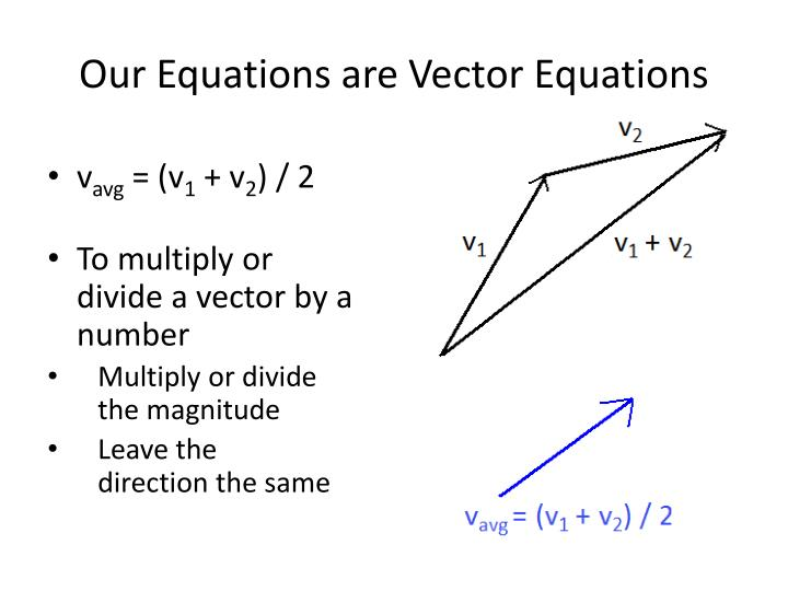 Our Equations are Vector Equations