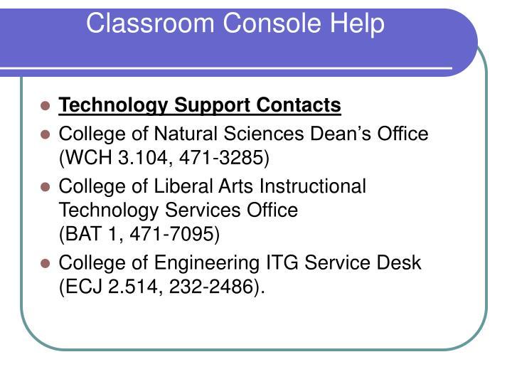 Classroom Console Help