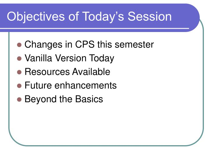 objectives of today s session