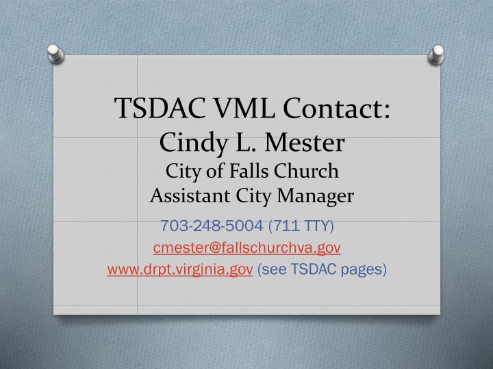 TSDAC VML Contact: