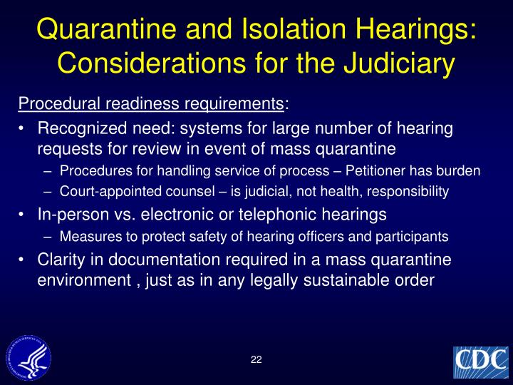 Quarantine and Isolation Hearings:
