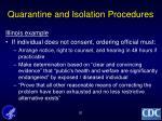 quarantine and isolation procedures
