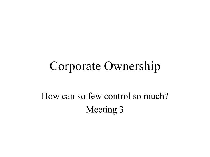 corporate ownership