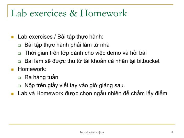 Lab exercices & Homework