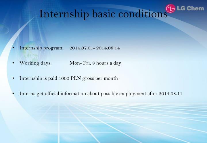Internship basic conditions