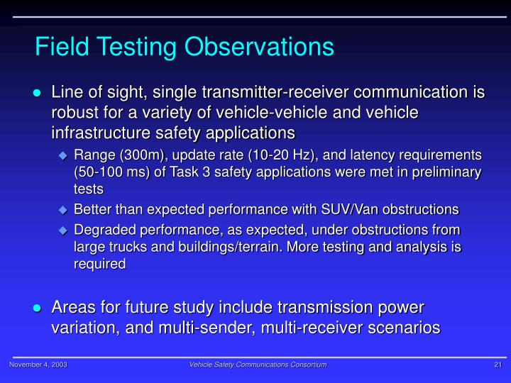 Field Testing Observations
