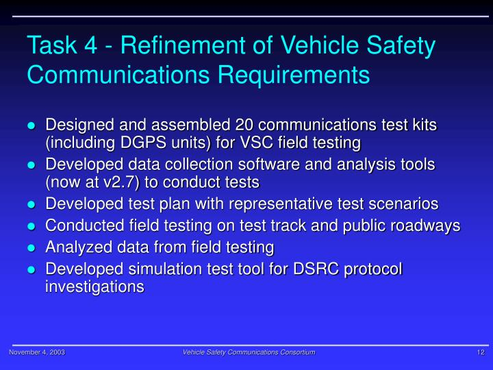 Task 4 - Refinement of Vehicle Safety Communications Requirements