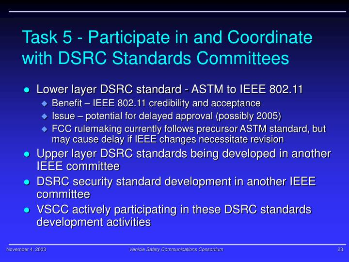 Task 5 - Participate in and Coordinate with DSRC Standards Committees